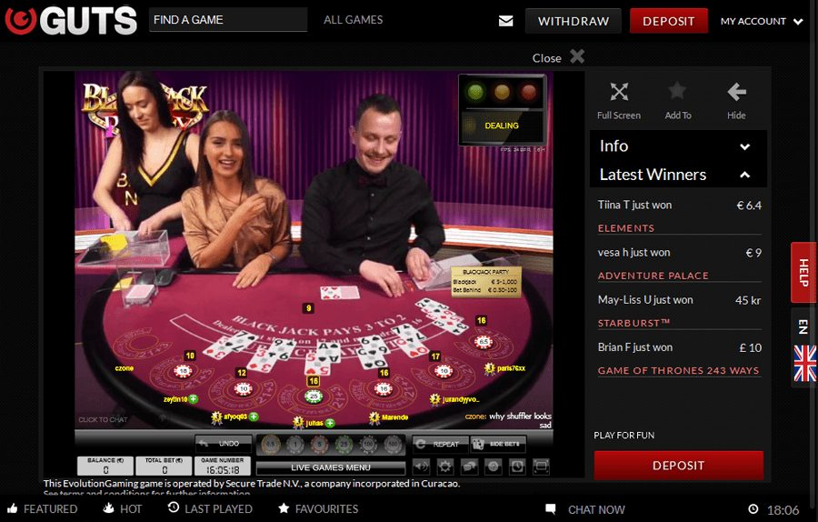 Guts Live Casino Dealer NZ