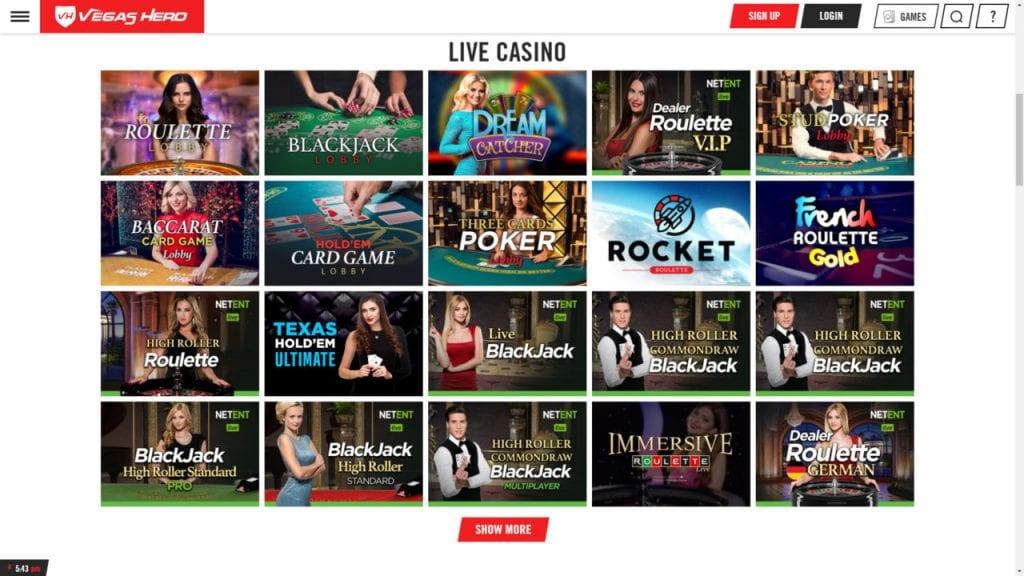 Vegas Hero Live Dealer Casino NZ